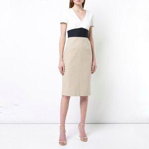 Diane von Furstenberg v-neck tailored dress sand 8